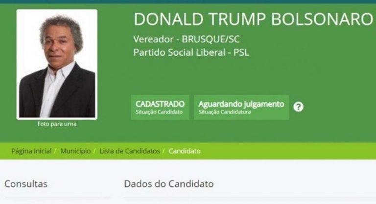 Candidato a vereador em Brusque usa nome Donald Trump Bolsonaro para a campanha