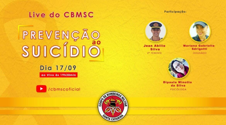 Live do CBMSC com o tema prevenção ao suicídio acontece na quinta-feira, 17