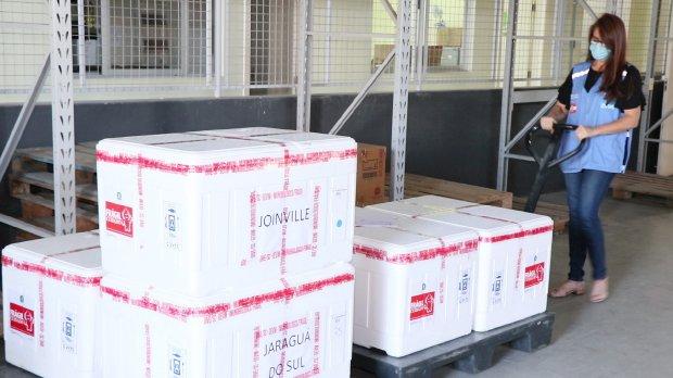 Novas doses de vacinas contra a Covid-19 são distribuídas para Seara e região; confira quantidade e grupos contemplados